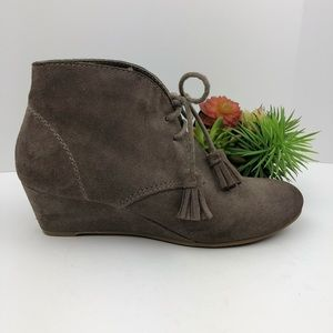Nicole Suede Taupe Wedge Booties | 6.5